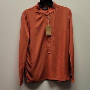 A.P.C. Orange Long Sleeve Blouse